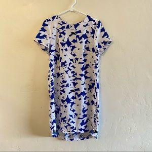 H&M White & Blue Floral Print Shift Dress Size 10